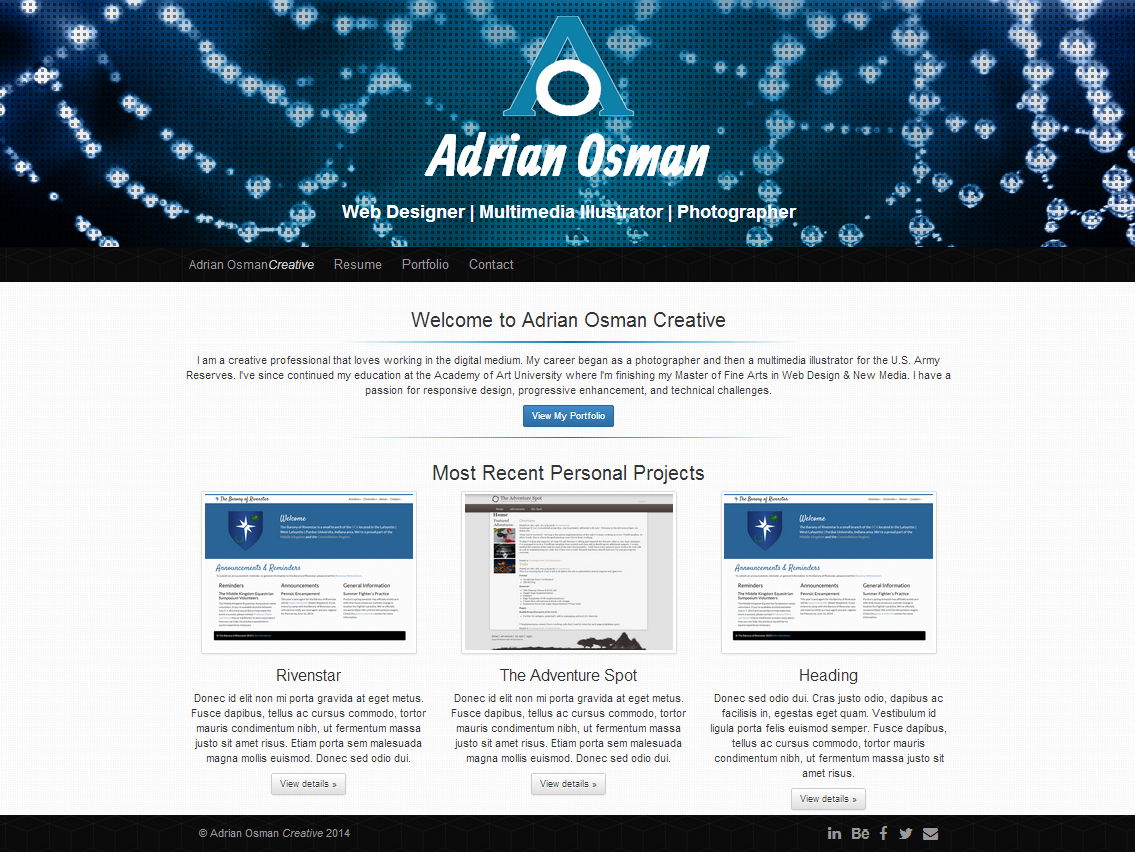 Screenshot of Adrian Osman Creative's home page.